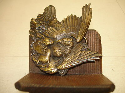 VINTAGE EAGLE WITH RABBIT BRASS BELT BUCKLE...Bergamot Brass Works..1974