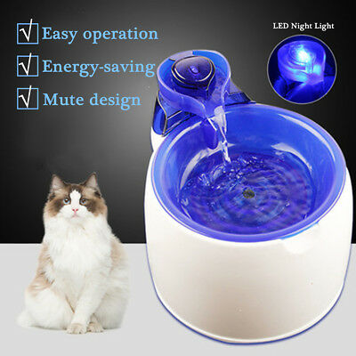 3L Silent Automatic Fountain Fresh Water Bowl Night Light Feeder For Pet Cat Dog