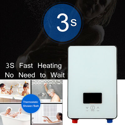 6500W Tankless Electric Shower Instant Hot Water Heater Boiler Kitchen Bathroom