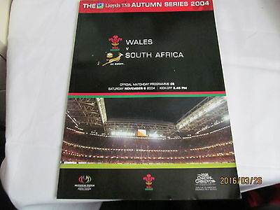 Wales v South Africa - 6th November 2004 - Rugby Union Programme