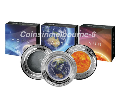 Earth and Beyond - 2018 Earth + 2019 Moon + Sun Silver Proof Coin Set Australia