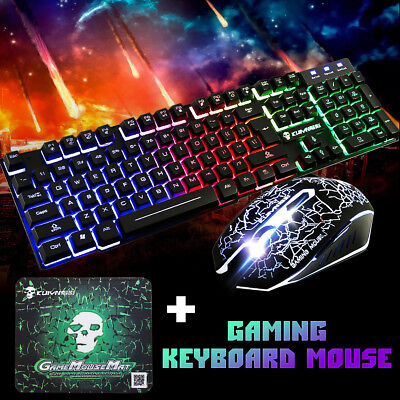 T6 Rainbow Backlight Usb Ergonomic Gaming Keyboard and Mouse Set for PC HOT