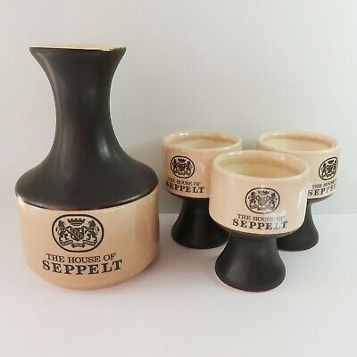 Vintage Elischer House of Seppelt, Benno Port Wine Jug Decanter & 3 Cups/Goblets