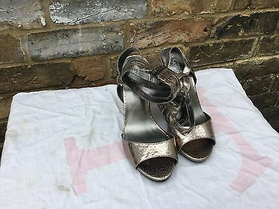 New Ladies Girls New Look Silver Shoes Pumps Heels Size 6