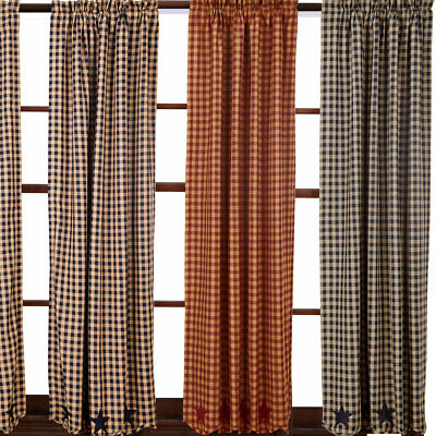 "Star and Check Scalloped Country Curtain Panels Navy Black Burguny 63"" or 84"""