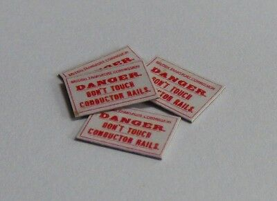 4 x OO Scale Vintage Style Danger Don't Touch Conductor Rail Signs - BTC Version