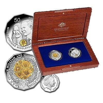 2011 Royal Wedding - Selectively Gold Plated Silver Proof Coin Set Australia
