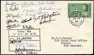 ANTARCTIC BAT MULTI SIGNED HALLEY BAY 1966 BASE Z to NEW ZEALAND