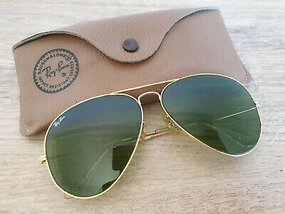 Vintage B&L Ray-Ban USA Aviator Sunglasses by Bausch and Lomb Green Lens 62-14
