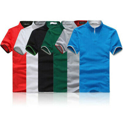 Men's T Shirt Formal Summer Shirts V Neck Stand Collar Solid Tops Blouse Holiday