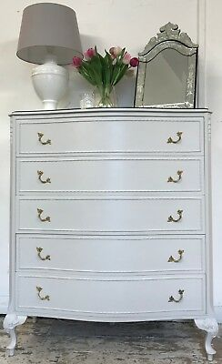 French Louis Style Chest of Drawers Painted in Farrow & Ball 'Cornforth White'