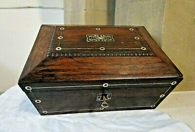 ANTIQUE TEA CADDY REGENCY WILLIAM IV ROSEWOOD SARCOPHAGUS SHAPE   with KEY