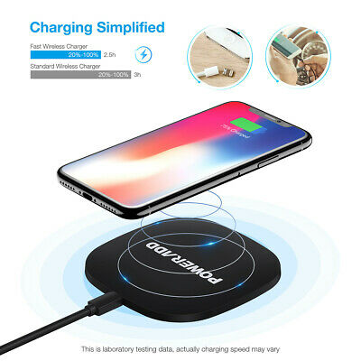 Poweradd 10W Ultra thin Qi Wireless Charger Pad Stand for iPhone X 8 Samsung S7