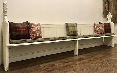 Large Shabby Chic Painted Victorian Pitch Pine Pew Bench - OVER 11ft long ..