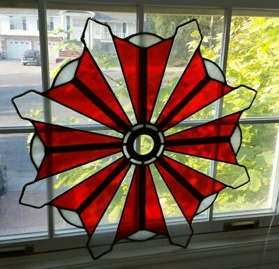 """Beautiful Sunburst 24"""" Handcrafted Stained Glass Window Panel Red"""