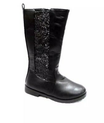 Nicole Miller BRIANNA GIRLS BLACK KNEE HIGH BOOTS WITH GLITTER PANEL Uk2 Kids