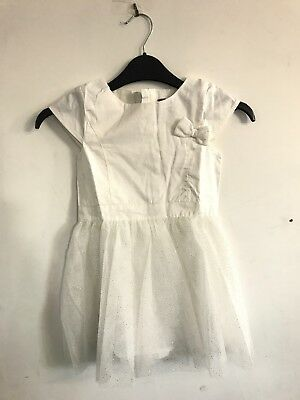 C# Girls Vertbaudet Gold Speckled Tulle Dress White Age 5 Years Old