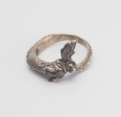Exquisite vintage sterling silver dragon biting tail mens ring size 12.5
