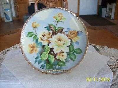 Norleans Vtg. Porcelain Wall Or Cabinet Plate Yellow Rose Pattern Made In Japan