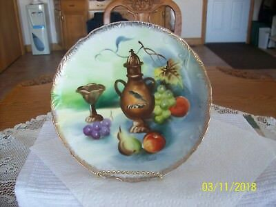 Norleans Vtg. Porcelain Wall Or Cabinet Plate Wine & Fruit Pattern Made In Japan