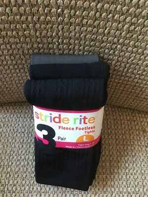Stride Rite Girls Fleece Footless Tights S L 7-10 Black Cable Black Solid Grey
