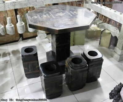 China Black Stone Carved jade Zong Yu Cong Jade Cong Stool Table Four Chairs Set