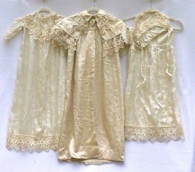 Antique Victorian Irish Tambour Lace Baby Christening Dress Silk Baptism Gown