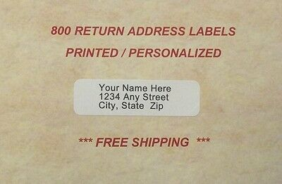 800 - Personalized/Printed Return Address Labels - 1/2 x 1 3/4