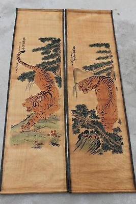 Chinese old Collection of scroll painting on silk 百鹤图