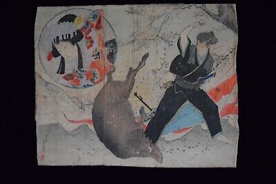 Japanese Antique Geisha UKIYO-E Woodblock Print 2 sets (b183)