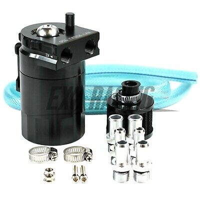 Exoracing Black Baffled Aluminum Oil Catch Can Reservoir Tank / Oil Tank With Fi