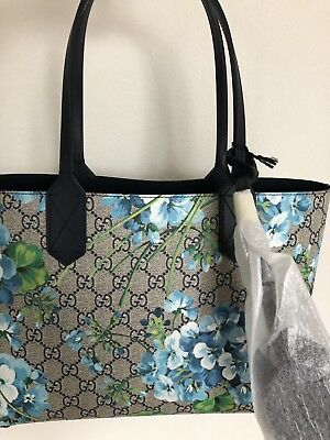 024d2b69d New Auth GUCCI Bloom Small Blue Canvas Bag Tote Reversible Beautiful Spring