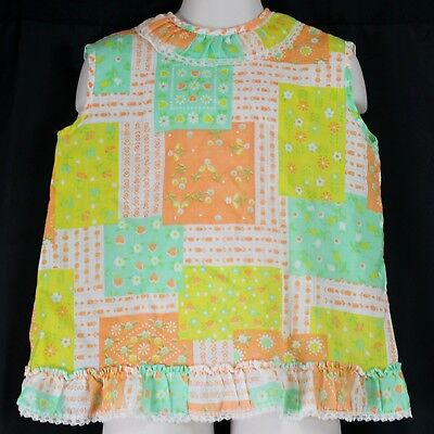 VTG 1960s Girls Patchwork Print Summer Sz 6 Hippy Boho Open Back Tank