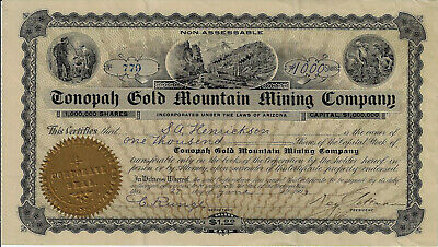 NEVADA1904 Tonopah Gold Mountain Mining Company Stock Certificate