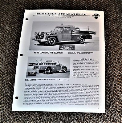 VTG 1961 Advertising Howe Fire Apparatus 4WD Willys Jeep Pickup