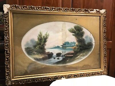 """Antique Pastel Small Falls Cottage Trees  HENRY MORSE WARD Oval Picture 22""""x 13"""
