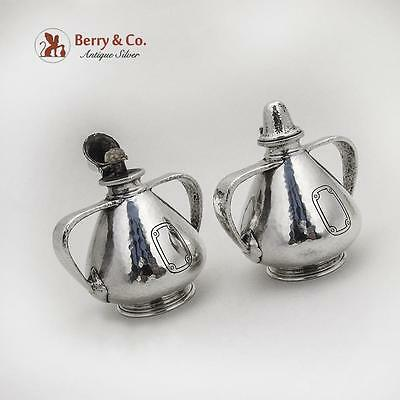 Arts And Crafts Cigar Lamps Pair Hand Hammered Tiffany Co Sterling Silver 1910