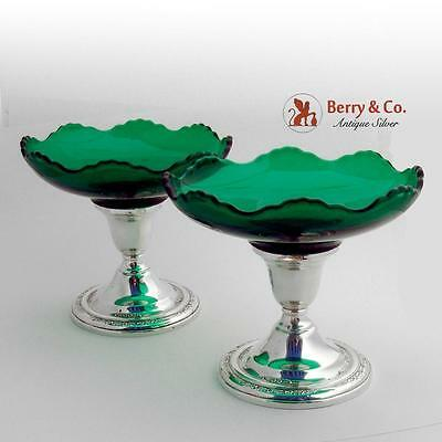Courtship Candy Dishes Candle Sticks Sterling Silver Glass International 1936