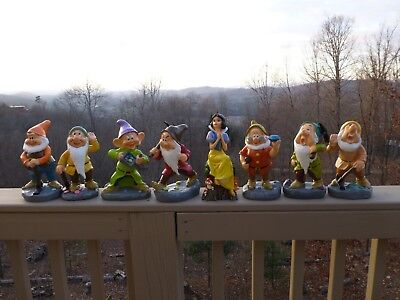 Disney Snow White and The Seven Dwarves Resin Garden Statues Complete Set New