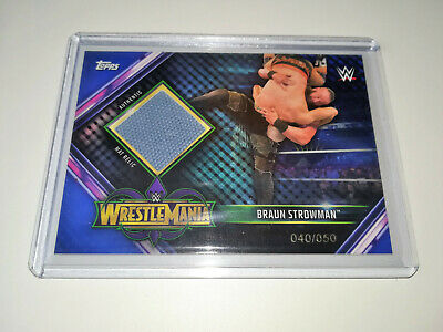 2019 Wwe Topps Champions Braun Strowman Blue 040/050 Authentic Ring Mat Relic