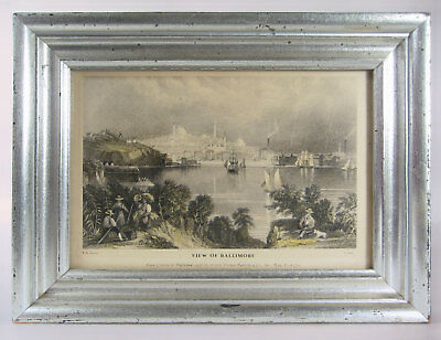 Antique Print View of Baltimore Maryland city 1863 steel engraving boats etc
