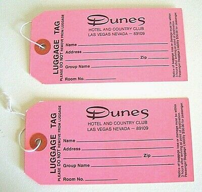 Dunes Hotel Las Vegas 1970's VIP Baggage Luggage Tags ID Tag New Condition