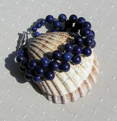"Blue Lapis Lazuli Crystal Gemstone Woven Beaded Cuff Bracelet ""Bonnie Blue"""