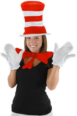 Brand New Dr Seuss Cat in the Hat Adult Halloween Costume Accessory Kit