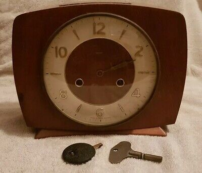 Smiths Enfield Wooden Striking Mantle Clock, Key, Pendulum Working, Missing Hand