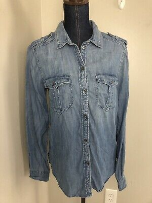 259d8dfb Womens American Eagle Boyfriend Fit Small Distressed Denim Button Front  Shirt
