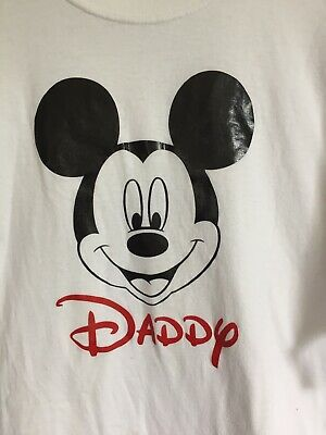 de2f7980 FATHER'S DAY Disney Mickey Mouse Daddy Tee Shirt White Size Large.preowned  Clean