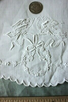"Antique Swiss Appenzell Hand Embroidered Linen Doily~Birds & Bows~11"" Round"