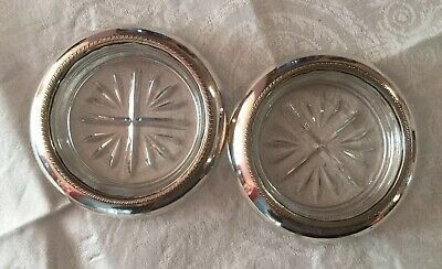 Pair B.Rogers Glass Coasters With Sterling Silver Collar. 10cm Dia.
