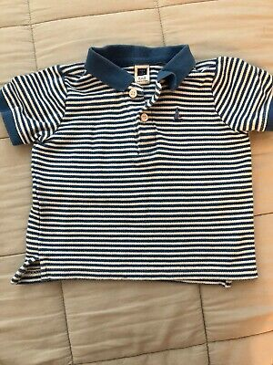 Baby Boy Janie and Jack BLUE/WHITE  Polo Collar Short Sleeve Button Size 6-12 M